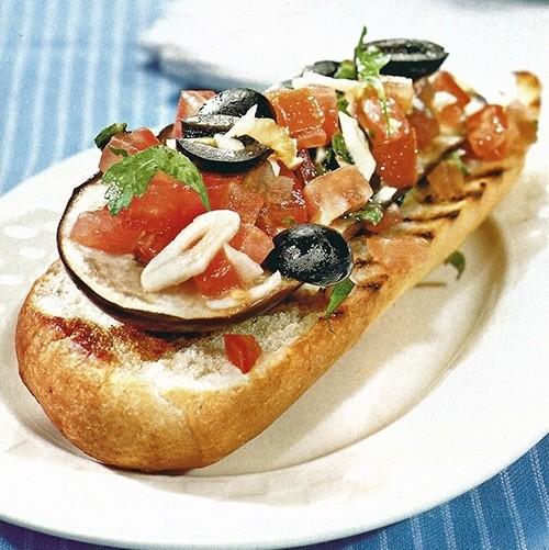 Греческие тосты с баклажаном