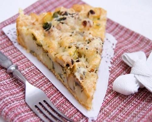Грибной пирог на тарелке кусок