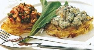 Креветки и мидии на картофеле «Пай»
