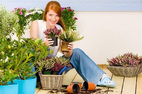 Женщина сидит с горшками цветов в руках