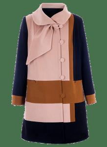 Пальто с контрастными квадратами и разноцветными горизонтальными блоками