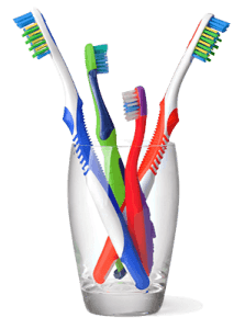 Зубные щетки в стакане
