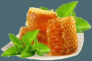 Мед и мята на тарелке