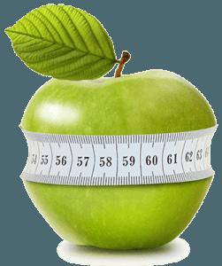 Яблоко в сантиметровой ленте