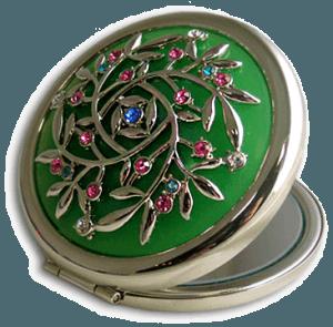 Зеркало косметическое зеленое