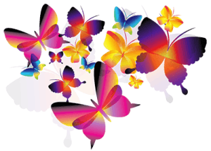 Разноцветные нарисованные бабочки