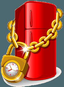 Красный холодильник на замке с цепью