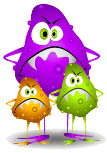 Рисунок разноцветных трех микробов