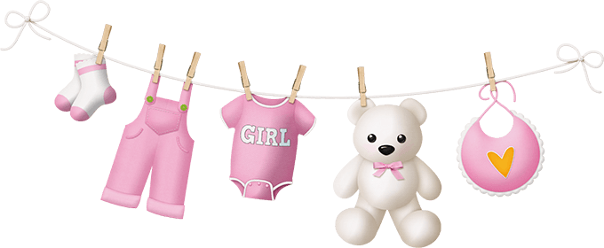 Одежда для девочки на веревке с прищепками