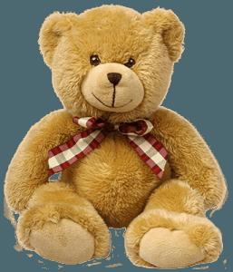 Коричневый плюшевый медведь с ленточкой
