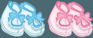 Розовые и голубые нарисованные пинетки