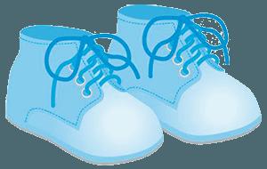 Нарисованные голубые пинетки