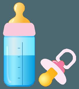 Нарисованные рожок и пустышка для девочки