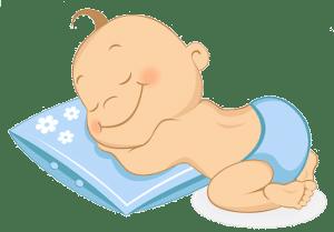 Рисунок спящего младенца на подушке