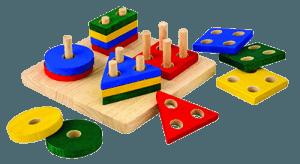 Геометрические пирамидки со штырьками для малышей