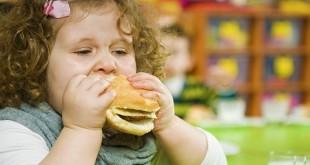 Полная девочка ест гамбургер