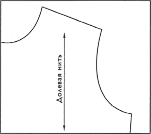 Продольные стрелки используются, когда в детали выкройки долевая нить ткани идет параллельно кромке