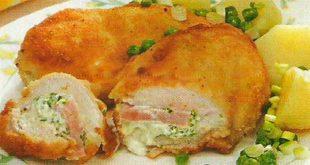 """Готовые куриные """"кармашки"""" разложите по тарелкам вместе с гарниром и подайте на стол"""
