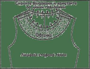 Соедините, совмещая плечевые швы, горловину и обтачку