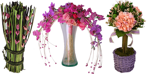 Три композиции из сухоцветов
