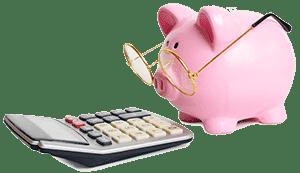 Копилка свинка и калькулятор