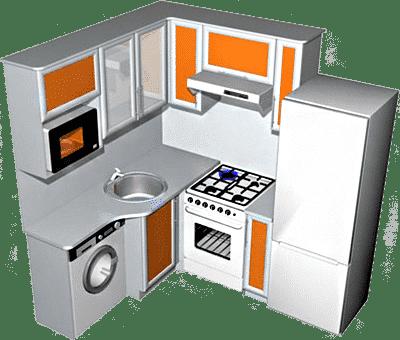 Для малогабаритных кухонь лучше использовать угловую планировку