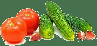 Помидоры, огурцы, зелень, чеснок