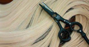 Светлые волосы и ножницы, оснащенные нагревательным блоком