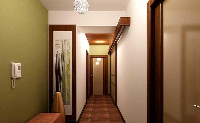 Светлый узкий коридор в квартире