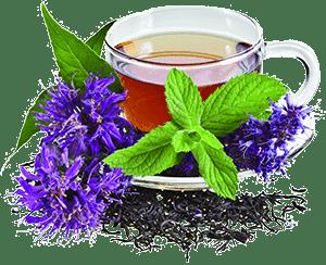 Чашка чая с мятой и васильками