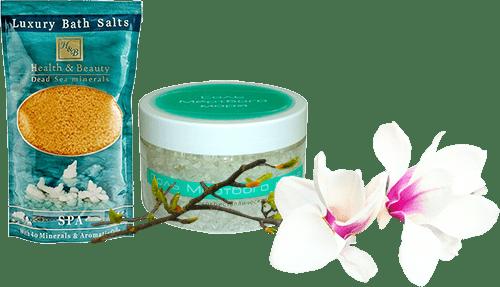 Разные соли мертвого моря и орхидея
