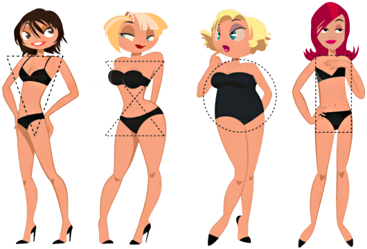 Рисунки девушек с разными типами фигуры