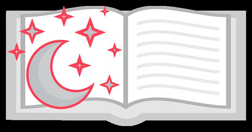 Раскрытая книга с полумесяцем и звездами
