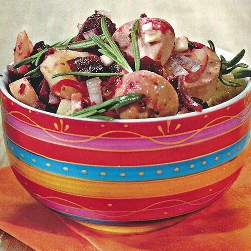 Картофельный салат с сардельками