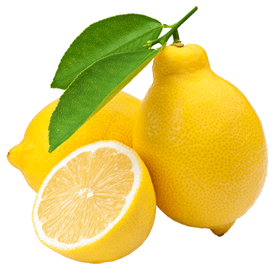 Лимон с листьями и разрезанный лимон