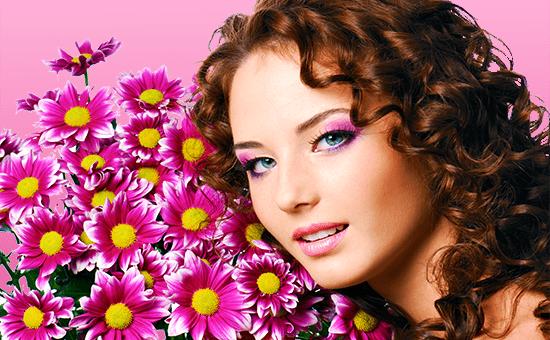 Оживляем волосы после химии: женщина цветы кудри