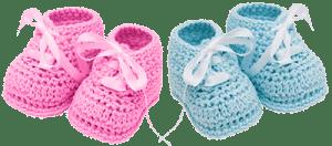 Розовые и голубые пинетки