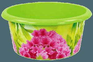 Зеленый таз с розовыми цветами