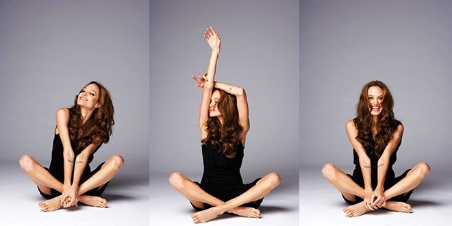 Анджелина Джоли сидит на полу