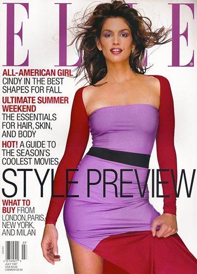Обложка журнала ELLE с изображением Синди Кроуфорд