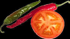 Ломтик томата и перец чили