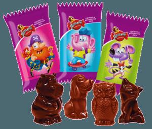 Конфеты шоколадные с фантиками
