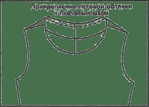 С изнаночной стороны изделия потайными стежками прикрепите обтачку к плечевым швам