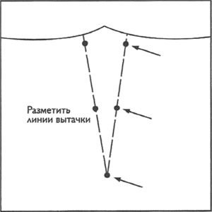 Перед удалением бумажной выкройки с ткани с изнаночной стороны ткани вколите булавки в кружочки, которыми промаркирована вытачка
