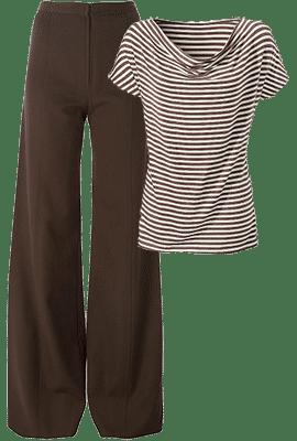 Широкие брюки в сочетании с топом, который своей графикой подчеркивает деловой стиль