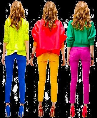 Девушки слишком яркие цвета в одежде