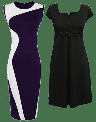 Подчеркнуто-строгие платья вызывают ощущение успеха и респектабельности за счет специально подобранных цветосочетаний