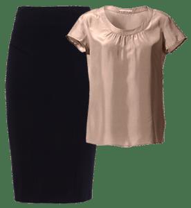 Топ из натурального изысканного шелка со слегка приспущенным рукавом и юбка-карандаш