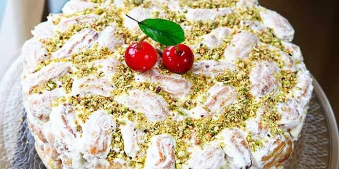 Торт «Дамские пальчики» с вишнями