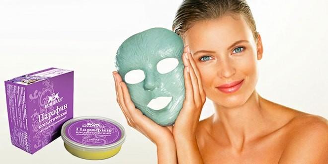 Женщина с маской и косметический парафин для лица